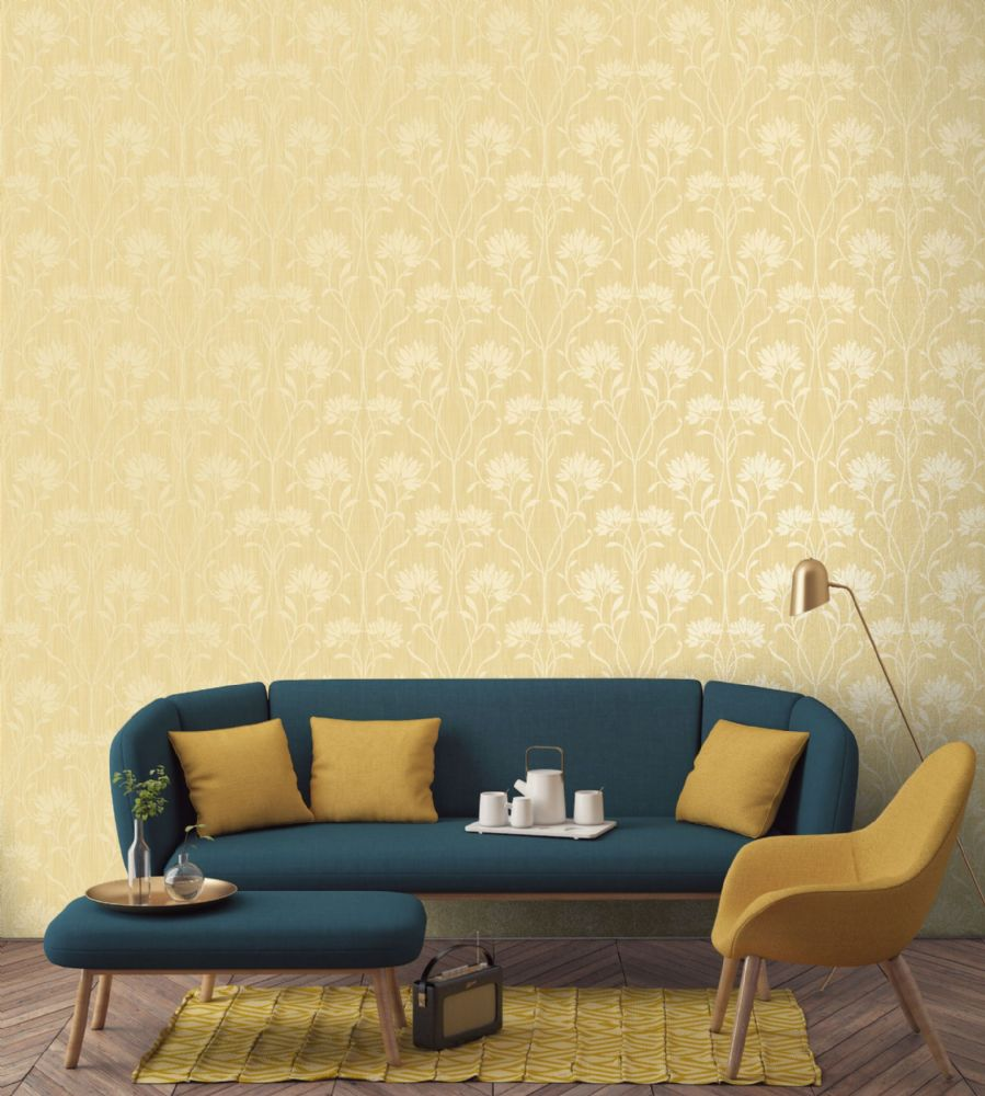 Fine Decor Florence Floral Yellow FD42581 Wallpaper